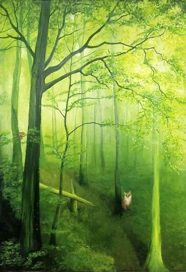 bosque verde con animales oleo sobre lie