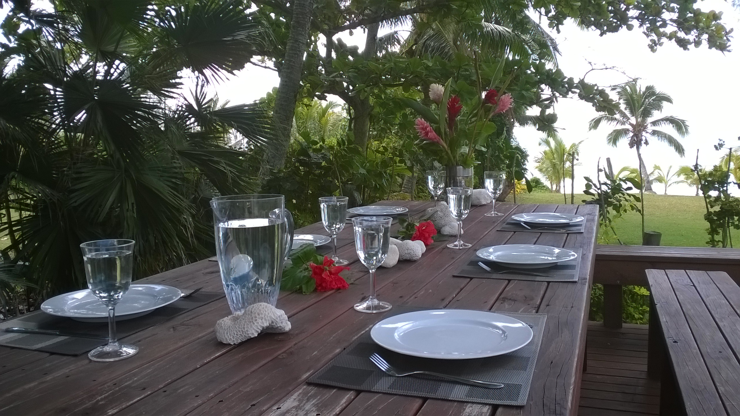 Dinner on a tropical island