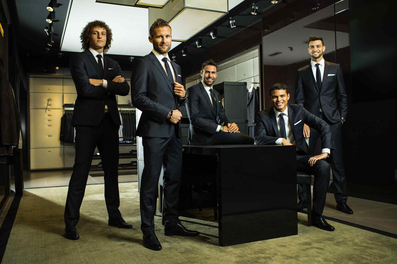 PSG, David Luiz, Yohan Cabaye, Salvatore Sirigu, Thiago Silva et Javier Pastore, Paris, 2014