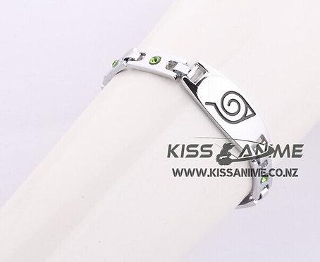 Naruto Konoha Symbol Silver Blue Semi-Precious Stones Inlaid Bracelet