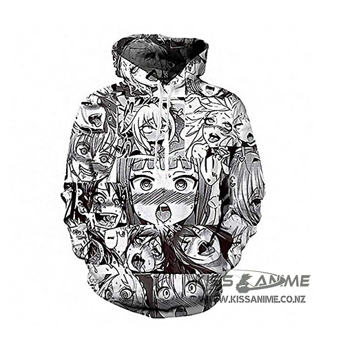 Unisex Funny Ahegao 3D Print Pullover Hoodie Sweatshirt