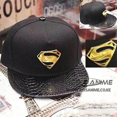 Superman Leather Hat Snapback (Black & Gold)