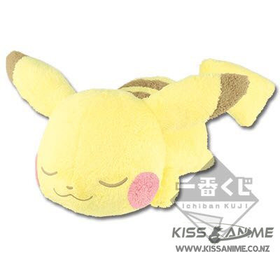 Ichiban Kuji Pokemon Collection Jumbo Sleeping Pikachu Plush Doll Toy