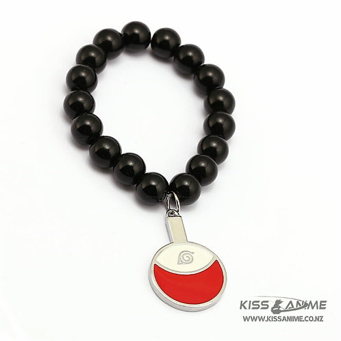 Naruto Uchiha Symbol Black Bead Bracelet