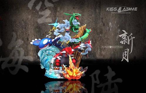 Crescent-Studio Hoenn Legendaries - Groudon, Rayquaza, Kyogre Pokemon Resin