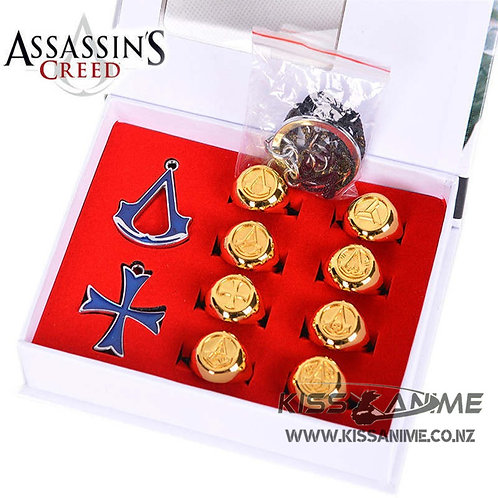 Assassin's Creed Pendants Necklace Rings Boxed - 3 Colors