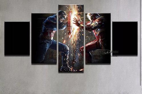 Marvel Comics Captain America VS. Iron Man Canvas Painting