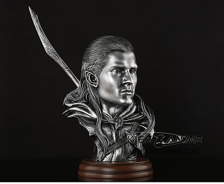 Legolas Greenleaf Bust Resin GK Figure with Wooden Base