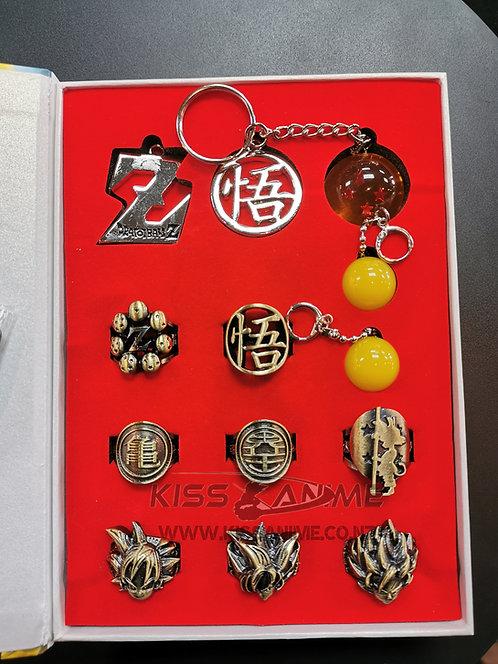 Dragon Ball Z Cosplay Rings + Earrings + Keyring Set