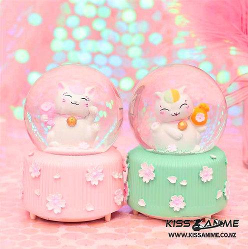 Lucky Cat Crystal Ball Snowflake Music Box