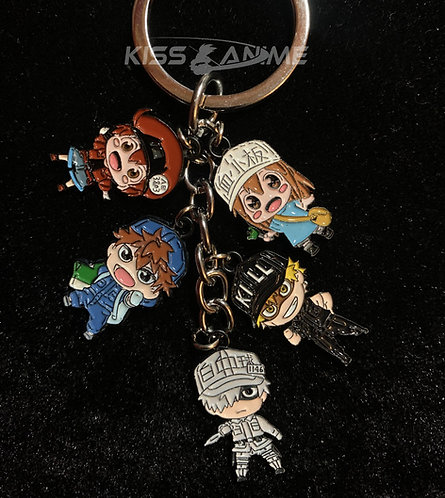 Cells at Work!  5 Pendant Metal Keychain