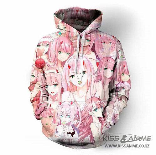 Darling in the Franxx Zero Two 3D Print Pullover Hoodie Sweatshirt