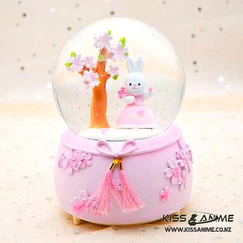 Sakura Rabbit Crystal Ball Snowflake Music Box