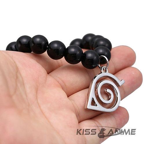 Naruto Konoha Symbol Black Bead Bracelet