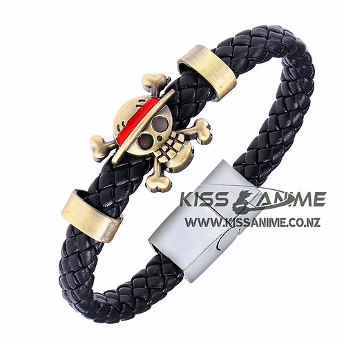 One Piece Straw Hat Skeleton Logo Bracelet