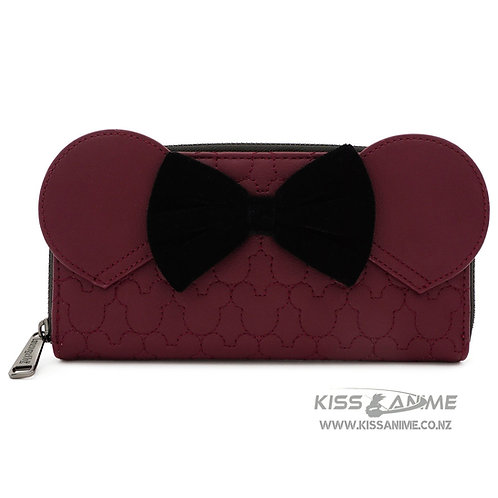 Loungefly X Disney Minnie Mouse Maroon Quilted Zip Around Wallet