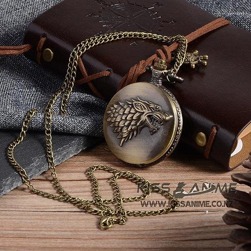 Game of Thrones House Stark Pendant Pocket Watch