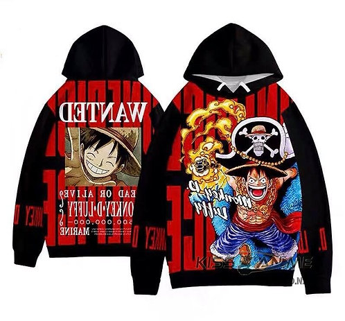 One Piece Luffy 3D Digital Printing Oversized Plus  Velvet Pullovers Sweatshirt