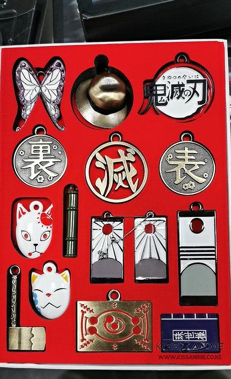 Demon Slayer Kimetsu no Yaiba Key Rings + Earrings Gift Set