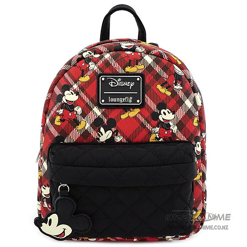 Loungefly X Disney Mickey Mouse Red Plaid Nylon Pocket Mini Backpack