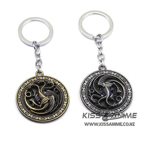 Game Of Thrones Targaryen Family 3 Headed Dragon Rotatable Keychain