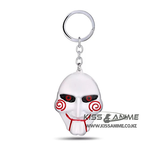 SAW Keychain Personality Metal White Mask Pendant Keyring