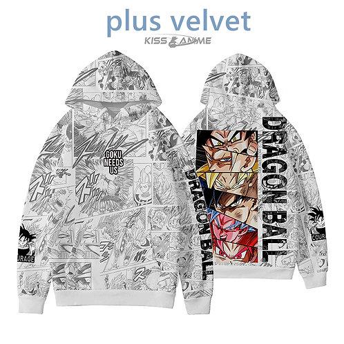Dragonball Z Oversized Plus Velvet Pullovers Hoodies