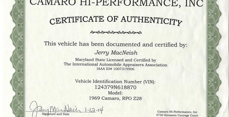 1969 Camaro Z28 Certificate of Authentic