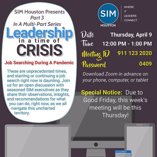 SIM Houston - Leadership in a time of Cr