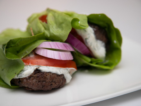 Lettuce-Wrapped Burgers With Dill Sauce