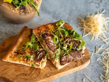 Grilled Steak Flatbread with Gorgonzola & Balsamic Glaze