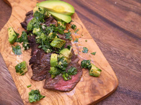 Labor Day Skirt Steak with Avocado Chimichurri