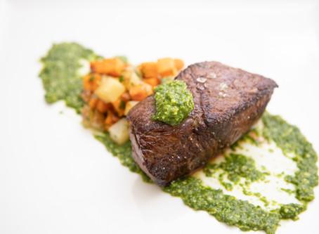 Sirloin Filets With Roasted Potatoes & Arugula Salsa Verde