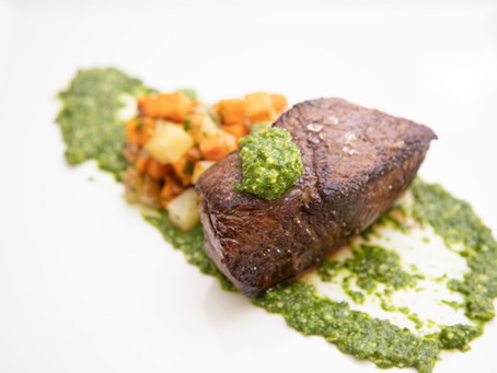 Sirloin Filets With Roasted Potatoes & Arugula Salsa Verde