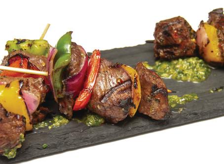 Beef & Veggie Kabobs With Basil Sauce