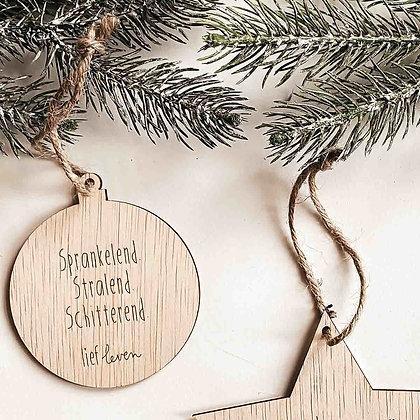 Kerstbal hout • Sprankelend. Stralend. Schitterend.