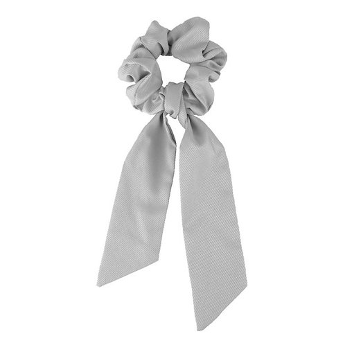 Scrunchie with ribbon grey