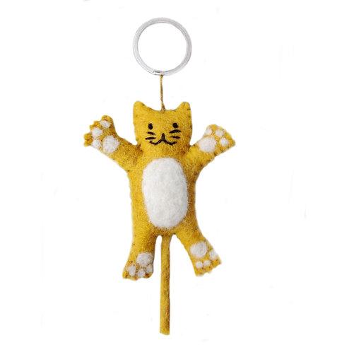 Sleutelhanger kat geel