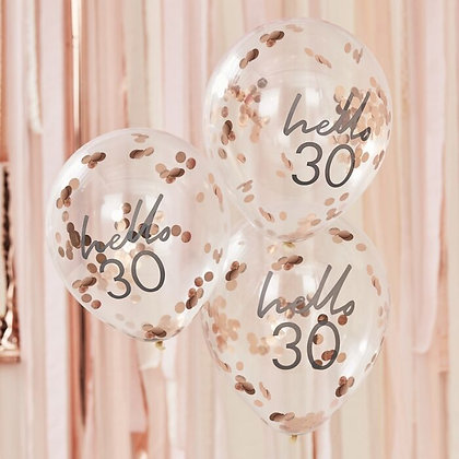 HELLO 30 - 5 confettiballonnen 30 jaar