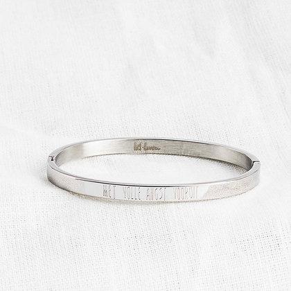 Armband • Met volle angst vooruit. (kleur zilver)