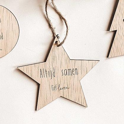 Kerstster hout • Altijd samen