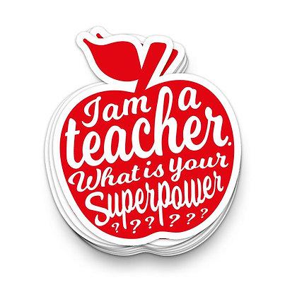 Sticker XL • I AM A TEACHER rood