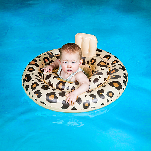 Beige Baby Swim Seat with Leopard printing (0-1 year)