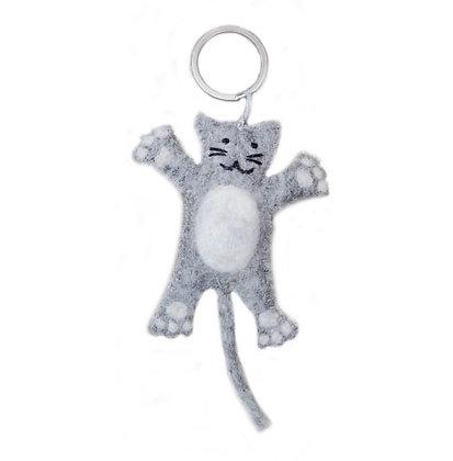 Sleutelhanger kat grijs