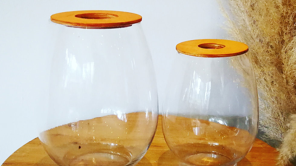 Large Barrel Vase with Wooden Lid (left)