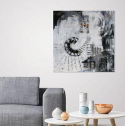 black/white - grey sofa