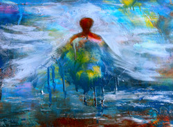 """'RISING"""" oil and mixed media SOLD"""