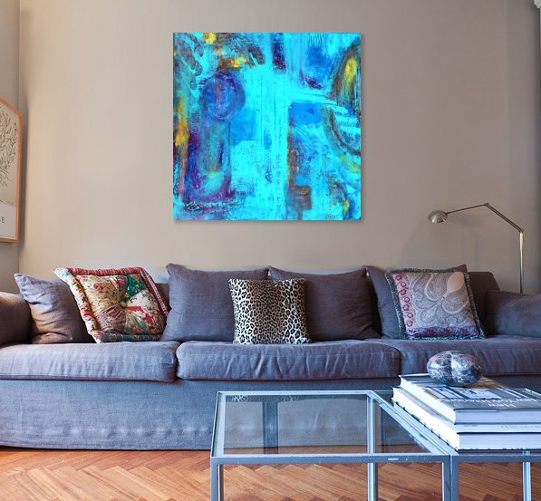 turq. blue sofa