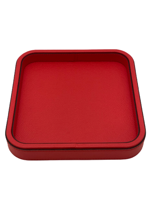 Tray in leather Handmade, Red