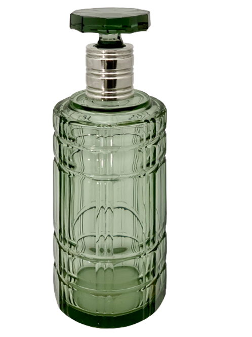Decanter Art Deco green glass and silver